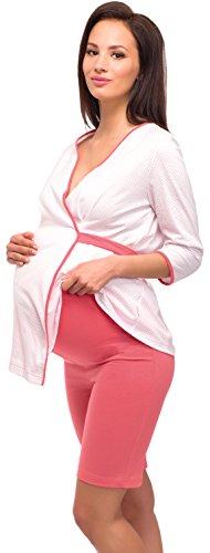Be Mammy Para Mujer para Lactante Pijama Alyse Blanco/Coral