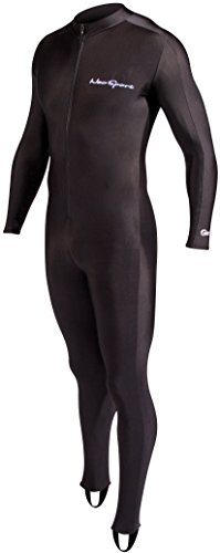 NeoSport Full Body Long Sleeve Lycra Sports Suit for Women and Men - Helps Protect Against UV rays and Skin Irritants - Great for Swimming, Snorkeling, Scuba Diving and All Watersports, Black, L