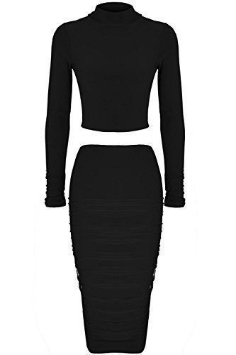 Oops Outlet Women's Celebrity Polo Neck Crop Top Ruched Midi Skirt Co-Ord Set Small (US 4) Black