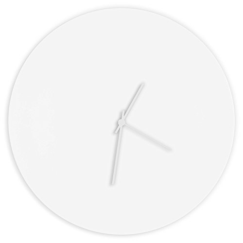 Minimalist White Clock 'Whiteout White Circle Clock' Contemporary...