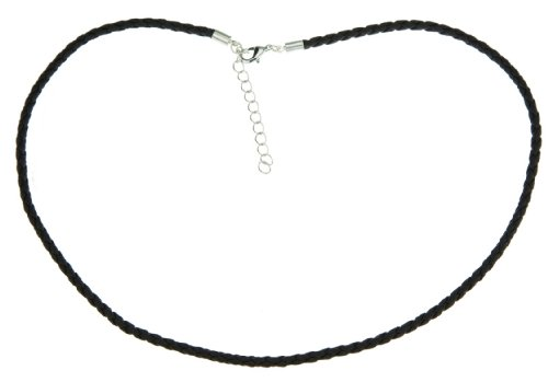 18 Inch Black Braided Leather Necklace Rubber Cord Rope Chain Unisex for Men Boy Women Jewelry Gift