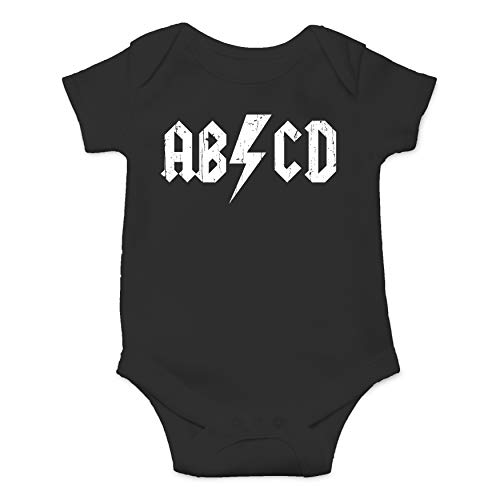 - ABCD Alphabet Rock and Roll Cute Funny One Piece Future Rockstar Hilarious Baby Infant Romper (Black, 6 Months)