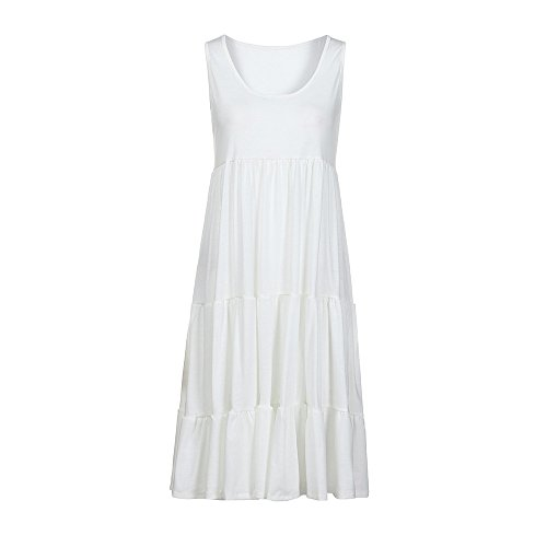 TUSANG Womens Skirt Holiday Summer Solid Sleeveless Party Beach Dress Loose Fit Comfy Flowy Dress(Y-White,US-4/CN-S)