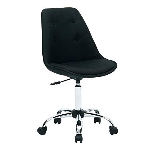Porthos Home LVC018A BLK Caster Wheels, Height Adjustable, Chrome Metal Base for Leisure, Seating or a Casual Gaming Office Chairs Size 32-36x19x22 inch, Choice of Colors, One, Black