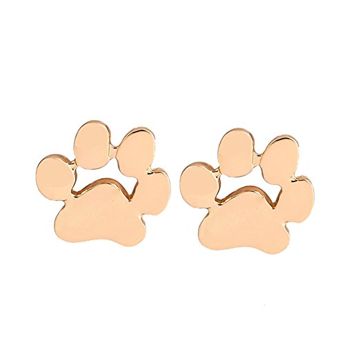RoseSummer Dogpaw Earring Silver Plated Dog Paw Print Ear Studs Dog Lovers Jewelry (gold)