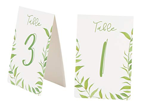 Juvale Greenery Table Number Cards, 1-25 Wedding Tent Style Watercolor Table Cards, Double Sided, Botanical Greenery Reception Party Decoration for Boho Wedding, 4 x 6 Inches