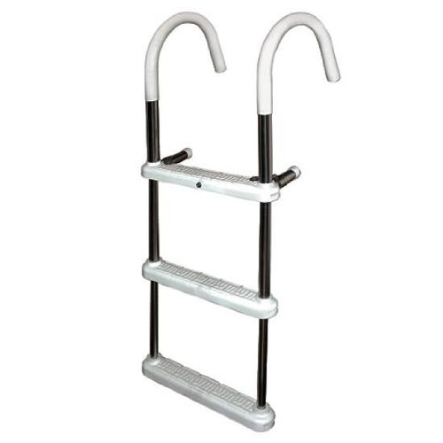 3 Step Gunwale 7'' Hook Ladder, Anodized Aluminum - Jif Marine