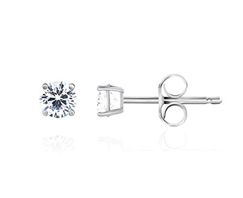 2 pairs Sterling Silver 0.03 Carat Simulated Diamond Earring Studs 2mm Ear Studs w/Earnuts Anniversary Birthday Mother