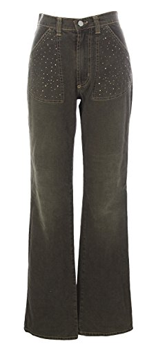 NOYES Women's Rhinestones Wide Leg Jeans, 44, Dark Brown by YESNO