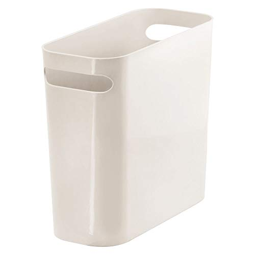 - mDesign Slim Plastic Rectangular Small Trash Can Wastebasket, Garbage Container Bin with Handles for Bathroom, Kitchen, Home Office, Dorm, Kids Room - 10