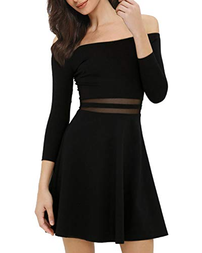 Mixfeer Womens Off The Shoulder A-Line Skater Dress Cocktail Party Dress