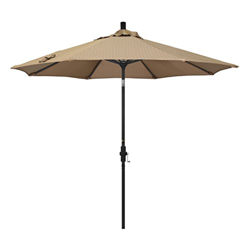 California Umbrella 9' Golden State Series Patio Umbrella With Stone Black Aluminum Pole Aluminum Ribs Collar Tilt Crank Lift With Olefin Terrace Sequoia Fabric