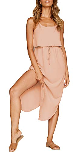 ZJCT Womens Dresses Adjustable Strappy Sleeveless Side Split Casual Summer Beach Midi Dress with Pockets Light Pink M