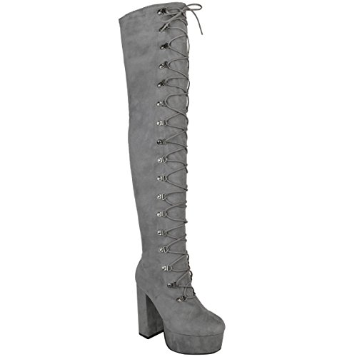 Fashion Thirsty Womens Thigh High Over The Knee Chunky Heel Lace up Boots Size 6 by Fashion Thirsty