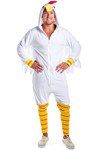 Chicken Halloween Costumes For Adults (Tipsy Elves Funny Adult Chicken Costume for Halloween - White Chicken Suit Chicken Outfit Chicken Onesie for Men:)