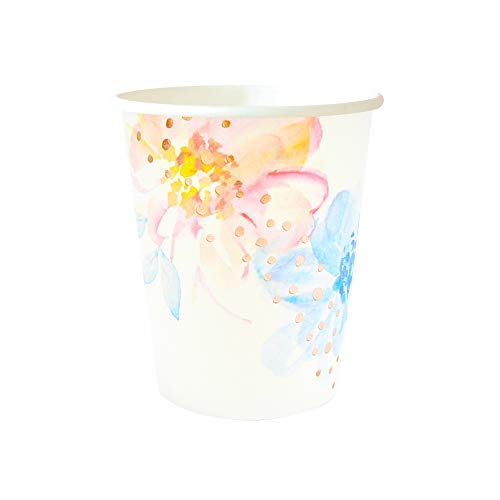 Illume Partyware Rose Gold Floral Cup, Disposable, 10 Count, 9 Oz for Birthday Party, Kids Party, Baby Shower