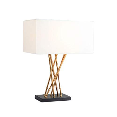 Lámpara de mesa de bambú de hierro forjado creativa chino, pantalla de tela, lámpara de noche moderna minimalista del dormitorio de la sala de estar, lámpara de escritorio de atenuación personalizada del hotel, E27, oro