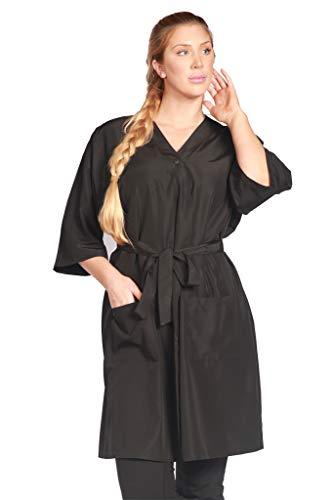 (Ladybird Line Unisex Black Kimono Robe / Gown Lightweight Water Repellent Bleach Resistant Ideal For Salon Clients ( XL-2XL))