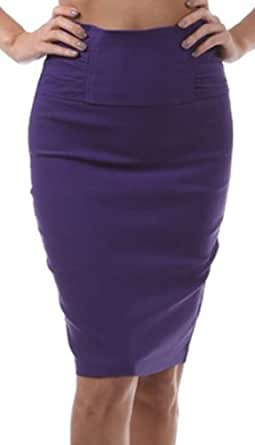 IMI-5235 Petite High Waist Stretch Pencil Skirt With Shirred Waist Detail - Purple / S