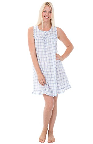 Alexander Del Rossa Womens 100% Cotton Lawn Nightgown, Sleeveless Chemise, Small Purple and Green Plaid (A0580L26SM)