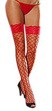 (Dreamgirl Women's Fence Net Thigh High, Red, One Size)