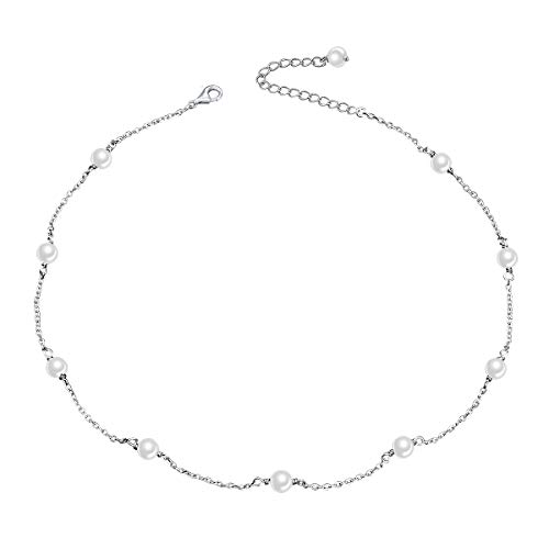 S925 Sterling Silver Choker Shell Pearl Beads Clavicle Short Pendant Necklace for Women