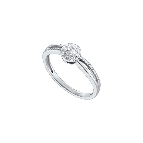 10kt White Gold Womens Round Diamond Solitaire Promise Bridal Ring 1/20 Cttw by JawaFashion