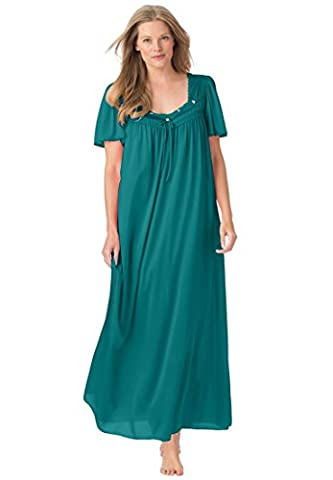 Only Necessities Women's Plus Size Full-Sweep Nightgown Spruce Pine,2X - Full Sweep Gown