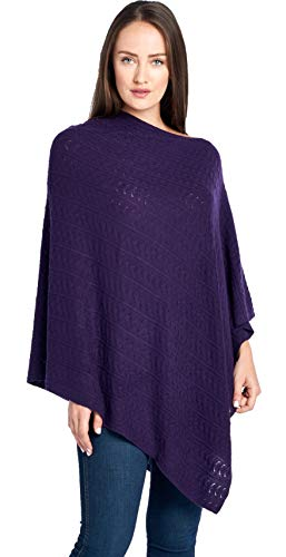 Mariyaab Women's 100% Cashmere Soft Knitted Travel Wrap Poncho Sweater(PS18L, Indigo, L/XL)