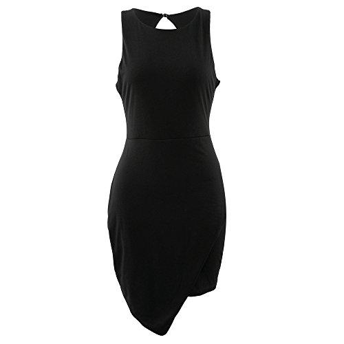 Aribelly Soirée Irrégulière Sans Manches Femmes Robe Noire