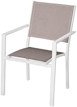 PAPILLON 8095605 Silla Jardin Aluminio Textilene Niza Apilable Blanco y Beige