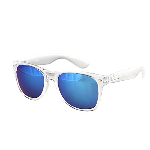 Shaderz Sunglasses Classic Clear Frame Retro 80's Reflective Mirror ICE Blue