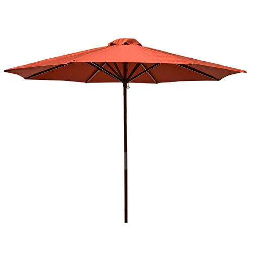 Heininger 9 Foot 1284 DestinationGear Classic Wood Chili 9' Market Umbrella