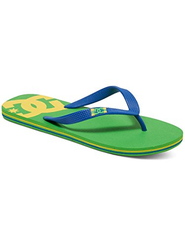 DC Men's Spray Flip Flops, Black, 4 Lime Green/Olympian Blue