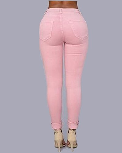 Mujer Leggings En Rodilla Alta Elástico Vaqueros Jeans Skinny Rotos Cintura Rosa Pantalones La RUq04