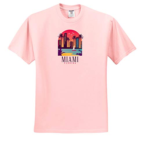 (3dRose Sven Herkenrath City - Miami Beach America with Ocean Palm Trees and Skyscrapers - Toddler Light-Pink-T-Shirt (2T) (ts_311000_47))
