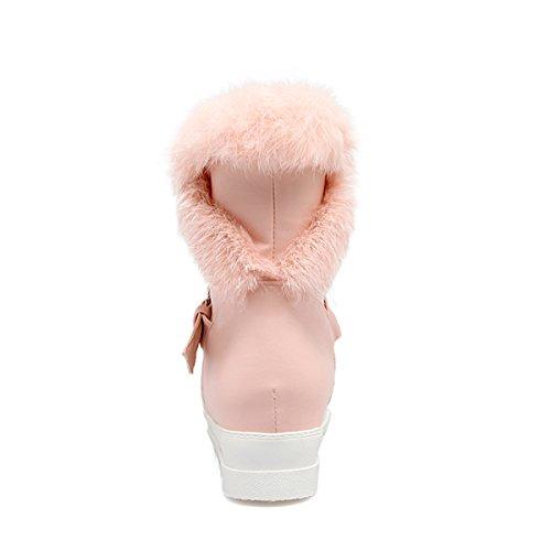 YE Damen Flache Ankle Boots Plateau Stiefeletten mit Fell und Schnalle Bequem Warm Schuhe Rosa