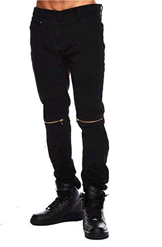 coupon code best service hot-selling authentic Damler Charcoal Black Men's Slim Fit Knee Zipper Round pocket Damaged Jeans