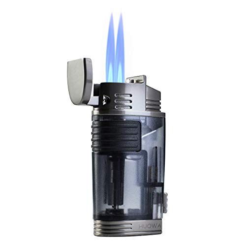 (Jet Torch Cigar Lighter, Double Flame Butane Refillable Cigarette Lighter with Visible Gas Tank and Cigar Punch)