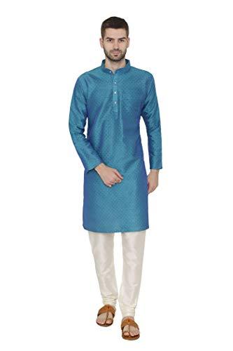 - WINTAGE Men's Banarsi Art Silk Tailored Fit Festive and Casual Kurta Chudidar Pajama Pyjama - Turquoise / 2XL