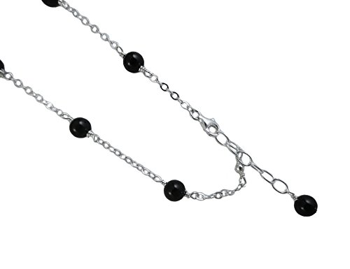6mm-Black-Onyx-with-925-Sterling-Silver-Anklet-Bracelet-78910111213-Inches