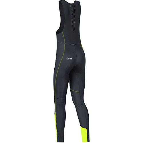 GORE WEAR Women's Long Cycling Bib Tights, C3 Women's Windstopper Bib Tights+, Size: M, Color: Black/Neon Yellow, 100332 by GORE WEAR (Image #1)