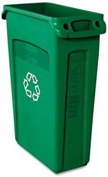 スリムジム・リサイクルコンテナW / ventingチャネル、プラスチック、23 Gal、グリーン、各1として販売、5パック、合計5各