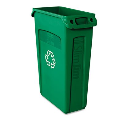 Slim Jim Recycling Container w/Venting Channels, Plastic, 23gal, Green, Sold as 1 Each (Bins Recycling Jim Slim)