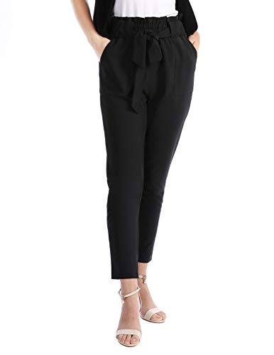 CHICIRIS Solid Casual High Waist Lightweight Cropped Pants for Women Black Size -