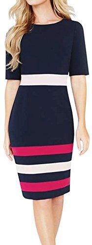 LUNAJANY Women's Color Block Back Slit Wear To Office Professional Midi Dress