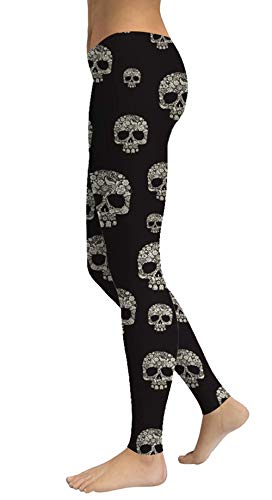 Women's Sugar Skull Printed Leggings Ankle Length Tights