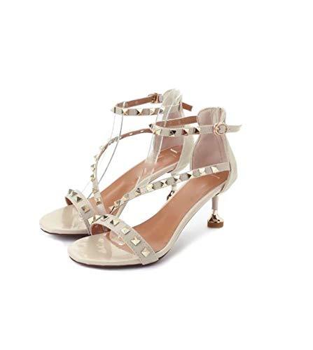 Fille Frais Talons Pour Boucles Kitties Femmes Chaussures Mince Trente Beige Hauts 7cm Rivets Petite huit Kphy Et wvqzFcP