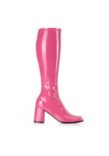 Funtasma by Pleaser Women's Gogo-300 Boot,Hot Pink Stretch Patent,10 (Patent Leather Gogo Boots)