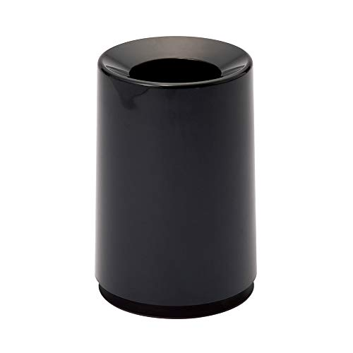 Ideaco TUBELOR Classic Designer Round Trash Can Conceals any Plastic Bag, 1.7 Gal, GLOSS BLACK